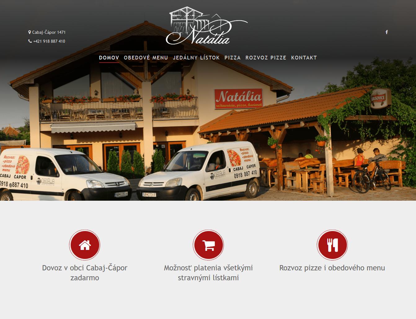 Tvorba webovej stránky Reštaurácia Natália